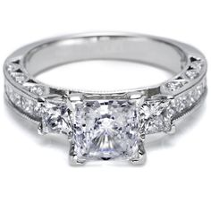 Tacori Wedding Rings, & love the 3 diamond (past, present & future) idea for an engagement ring!