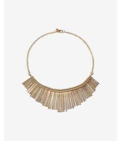 Metal Stick Fringe Necklace Women's Gold