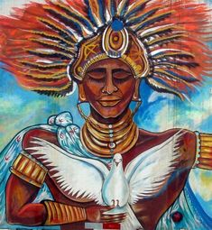 """divinemoon: """" OBATALA Obatala is the deity who created mankind. His symbolic color is white, although in some of his paths appears adorned with red, or purple interchangeably. Obatala is the symbol of. African Art Paintings, Orisha, African American Art, Gods And Goddesses, Types Of Art, Deities, Black Art, Art Forms, Mythology"""