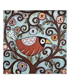 Loving this Bird in Tree with Gems Canvas on #zulily! #zulilyfinds