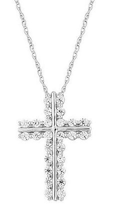 "10k White Gold Diamond Cross Pendant Necklace (1/2 cttw, I-J Color, I2-I3 Clarity), 18"" From Amazon Curated Collection Diamond Clarity:   No two diamonds are alike. A diamond's most distinguishing characteristics are its inclusions, marks that are often invisible to the naked eye. However, under a jeweler's magnifying loupe or microscope they can look like crystals, tiny rivers, or clouds. A diamond's clarity is determined by the  Price:	$550.00"
