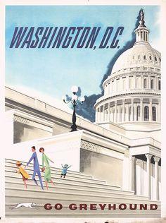 Great Original 1960s Greyhound Travel Poster Washington