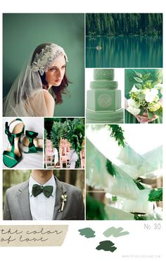 Oh, Emerald, how do I love thee?  Let me count the ways.  Pantone's color of the year, emerald green.    Image credits clockwise from top:  Twigs and Honey Hairpiece  |   Yoho National Parks Emerald Lake  |  Bouquet  |  Cake  |  Bunting  |  Bow-tie Groom   |  Satin Shoes  |  Fern Chair Decor