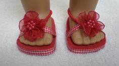RED BEACHY SANDALS for 18 inch American Girl doll by dollupmydoll, $6.50