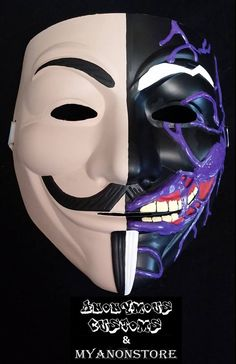 Custom Anonymous mask 2 face Harvey Dent Anonymous Mask, The 5th Of November, Image Search, Joker, Hand Painted, Superhero, Fictional Characters, Wallpaper, Concept