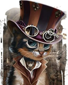 Pinning this steampunk cat to the Camilla board simply because I feel like it, not because it has any relevance to Cami whatsoever. Then this would be her � (Steampunk Kitty by Kajenna) Cute Animal Drawings, Cute Drawings, Baby Animals, Cute Animals, Anime Animals, Steampunk Cat, Steampunk Drawing, Steampunk Artwork, Steampunk Fashion