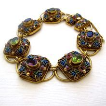 Chinese Sterling Gilt Enamel Bracelet with Peridot and Amethyst Stones