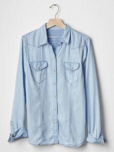 Chambray slim western shirt   Gap