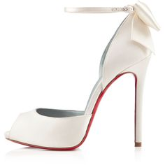 Christian Louboutin Dos Noeud ($1,045) ❤ liked on Polyvore featuring shoes, pumps, christian louboutin, heels, louboutin, off white, view all, heels & pumps, champagne satin pumps and high heel platform shoes