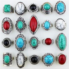 Gros Lot 5pcs Look Vintage Retro artisanat Tibet Antique alliage argenté assorties de conception R015 bagues turquoises couleur mélangée sur Etsy, 10,37 €
