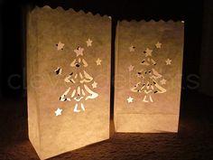 4pk HOLIDAY LUMINARIES VOTIVES INCLUDED DIE CUT SANTA CHRISTMAS TREE BAGS CLASSY