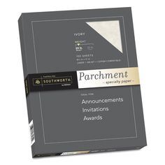 Southworth Parchment Specialty Paper, Ivory, 24lb, 8 1/2 x 11, 100 Sheets, White