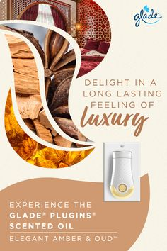 Notes of exotic spices, transparent jasmine, warm amber and oud wood are skillfully blended in this cocooning indulgence of modern luxury. Perfectly adjustable to suit your mood. Experience the new Glade® PlugIns® Scented Oils in Elegant Amber & Oud™ fragrance. #LuxuryFragrances #OudScent