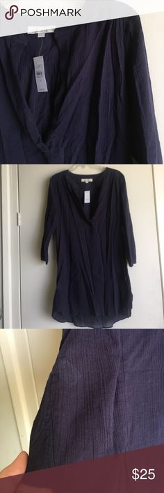 NWT Loft Swim Cover Up Sheer Cotton Dress Sz M NWT Swim Cover Up Dress Sz M the color is kind of between dark purple and navy blue.  It's so cute but it runs bigger than I'd like. The Cotton feels more like gauze and sheer. It might be cute to wear it as a Tunic if you are tall enough!   All my items come from smoke/pet free home! As I'm doing major closet cleaning, please check out my other items, too!   Thank you for looking! LOFT Swim Coverups