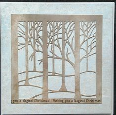 Clarity Fresh Cut Treescape die cut with Leonie Pujol Christmas border stamps - by Lynne Lee Clarity Card, Barbara Gray, Fresh Cuts, Christmas Border, Die Cutting, Butterflies, Stamps, Trees, Leaves