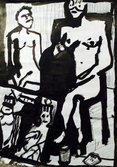 "Linn Sundqvist ""Painting a Woman"" Ink on paper"