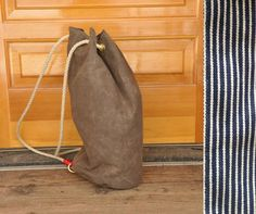 Waxed canvas Overnight Bag. Brown with hickory stripe raw denim lining. Waxed canvas bag, backpack, shoulder bag, tomboy purse, field bag