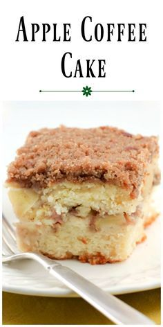 Apple Coffee Cake has a layer of streusel and apples in the center of the cake and a generous amount of streusel on top as well. Apple Desserts, Apple Recipes, Cake Recipes, Dessert Recipes, Yummy Recipes, Apple Streusel, Streusel Coffee Cake, Apple Coffee Cakes, Apple Crumb Cakes