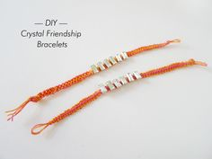 For the glam girl who wants to look effortlessly chic all summer long, these designer-inspired DIY Crystal Macrame Bracelets will give you that beachy boho vibe while keeping it glitzy and girly. Macrame Bracelet Patterns, Crochet Bracelet, Macrame Jewelry, Fabric Jewelry, Macrame Bracelets, Friendship Bracelet Patterns, Crystal Bracelets, Beading Patterns, Friendship Bracelets