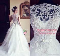 Wholesale 2014 - Buy Vestido De Noiva Ball Gown Vintage Wedding Dresses Lace Crew Neck Illusion Sleeveless Button Zipper Beaded Lace Beach Bridal Gowns BO3039, $142.55   DHgate