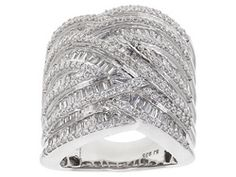 Bella Luce (R) 4.85ctw Round And Baguette Rhodium Plated Sterling Silver Ring