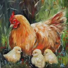 Hen and chicks Painting oil on canvas, Country Art, Chicken Art, Farm Animals, Chicks – Nutztiere Farmhouse Paintings, Farm Paintings, Country Paintings, Animal Paintings, Rooster Painting, Rooster Art, Chicken Painting, Chicken Art, Farm Art