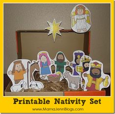 I found the first printable nativity set on Making Friends. However, it ended up being for the big boys, because KJ wanted the one below for herself. She got to color it in and everything! Plus, she loved that it came with a manger that we could make...rather than using an old Nike shoe box like we did with the one above. (I am partial because I really like the first one. I think I may even use it to make felt board pieces.)