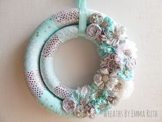 Tiffany Blue and Silver Sparkle Double Wrapped Wreath. Made by Wreaths By Emma Ruth
