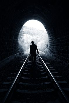"""Of the three different """"light at the end of the tunnel"""" options, we liked this one the best.  Walking towards the light in black & white.  Is there any way we can accomplish this effect in a different way without actually using a """"tunnel""""?"""