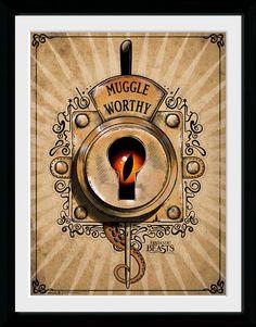 Póster enmarcado Muggle Worthy, Animales fantásticos y dónde encontrarlos, 45 x 34 cm  Póster enmarcado con la imagen del Muggle Worthy, perteneciente al film Animales fantásticos y dónde encontrarlos, dentro del universo Harry Potter.