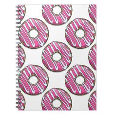Cartoon Pink Donut with Icing Notebook