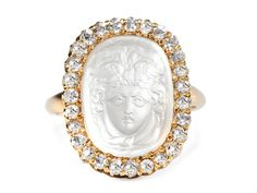 Remarkable Antique Carved Moonstone Ring - The Three Graces