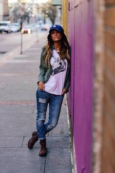 Hat and ripped jeans