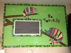 Chameleon bulletin board for jungle/safari theme. Making use of wasted wall space.