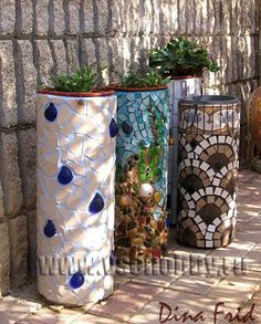 Plant stands (mosaic on plastic tubes)
