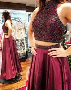 Classy Prom Dresses, Charming Two Piece Prom Dress, Sexy Beaded Prom Dresses, High Neck Long Prom Dresses Prom Dresses Long Pageant Dresses For Teens, 2 Piece Homecoming Dresses, Elegant Bridesmaid Dresses, Prom Party Dresses, Sexy Dresses, Beautiful Dresses, Two Piece Evening Dresses, Beaded Prom Dress, Dress Prom