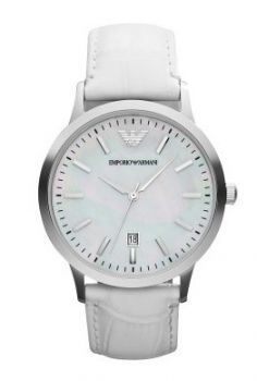Buy Emporio Armani Classic White Leather Mens Watch new - Stainless steel  case. Mother of pearl dial. Case Color  Mother of Pearl Gender  Male Age   Adult ... 7df20017c2