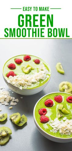 This thick and creamy green smoothie bowl is the ideal vessel for your favorite toppings such as chia seeds, flaked coconut and fresh berries. Easy Smoothies, Smoothie Recipes, Lemon Bowl, Smoothie Bowl, Chia Seeds, Berries, Coconut, Green, Food