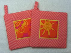 Pot Holder Quilted Hot Pad Set of 2  Coral Chevron by OwlTakeThat