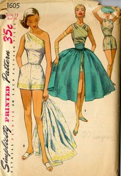 "Here is a ladies' ""playsuit"" from the 1950s. What drama! Note the one-shoulder bodice styling and the ""pannier"" wrap skirt. Related Read more..."