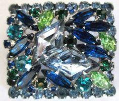 JULIANA-Verified-Blue-amp-Green-Diamond-Rhinestone-Square-Shaped-Pin