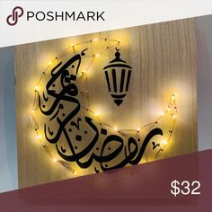 Ramadan kareem eid mubarak wall Decoration wood Size cm New elegant design for Ramadan Battery operated Other Ramadan Activities, Ramadan Crafts, Diy Crafts To Sell, Home Crafts, Diy Wall, Wall Decor, Ramadan Lantern, Powerpoint Background Design, Islamic Gifts