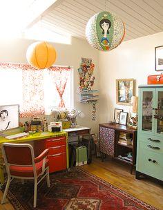 retro, studio, rug, home, interior, vintage furniture, work space, office, desk, colour, storage