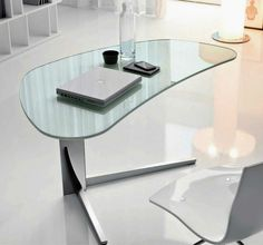 Outstanding Modern Office Desk Design With Oval Glass Table Combined Freestanding Triangle Foot Also Fancy White Chairs Featuring Nice Laptop And Mineral Bottle For Work From Home Desk Ideas. How To Work From Home With Smart Desk Design Ideas Cool Office Desk, Modern Office Desk, Home Office Desks, Home Office Furniture, Office Workspace, Smart Desk, Small Office, Office Table Design, Design Desk
