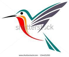 Stylized Ruby-throated hummingbird