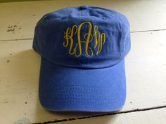 Monogrammed Baseball Cap in various colors and threads. Perfect monogrammed gift for birthdays, holidays or anytime gift. Appropriate for Tweens to adults. High Quality Buckle and Grommet Closure for hat.