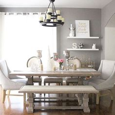 Image result for long dining table with bench and statement chairs & Great styling by @hey_im_s ft our Emmerson Dining Table + Bench ...
