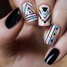 Hottest Fall Matte Nail Art Designs Ideas Connect to the latest fashion of nail art in the world!Hottest Fall Matte Nail Art Designs IdeasAutumn will come,need to change the summer n Aztec Nail Art, Tribal Nails, Hippie Nail Art, Zebra Nails, Geometric Nail, Stylish Nails, Trendy Nails, Nail Design Glitter, Nails Design