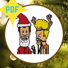Beavis and Butthead Do Christmas Cross Stitch PATTERN DOWNLOAD