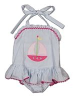 I can't handle the cuteness! Seersucker, ruffled, swimsuit for a baby girl!!!! @Lisa Potter